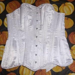White satin tie corset with boning